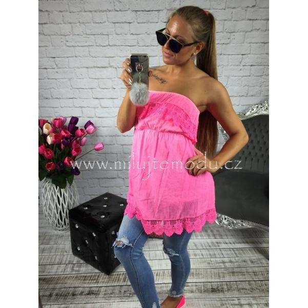Růžová neon tunika s volány
