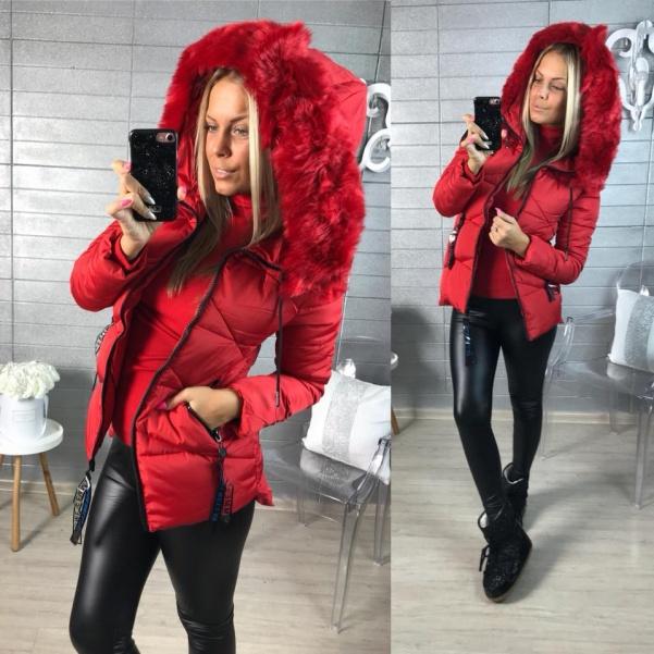 Red zimní bundička s bohatým kožíškem