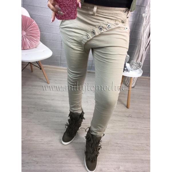 Béžové kalhoty s knoflíky