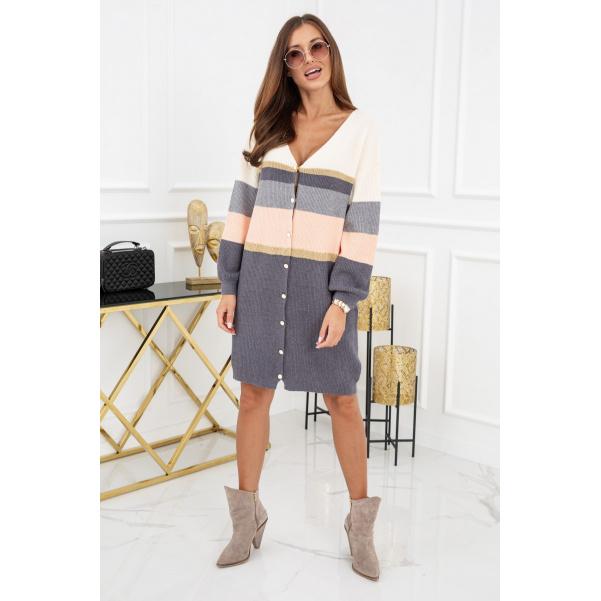 Pohodový barevný svetr na knoflíky