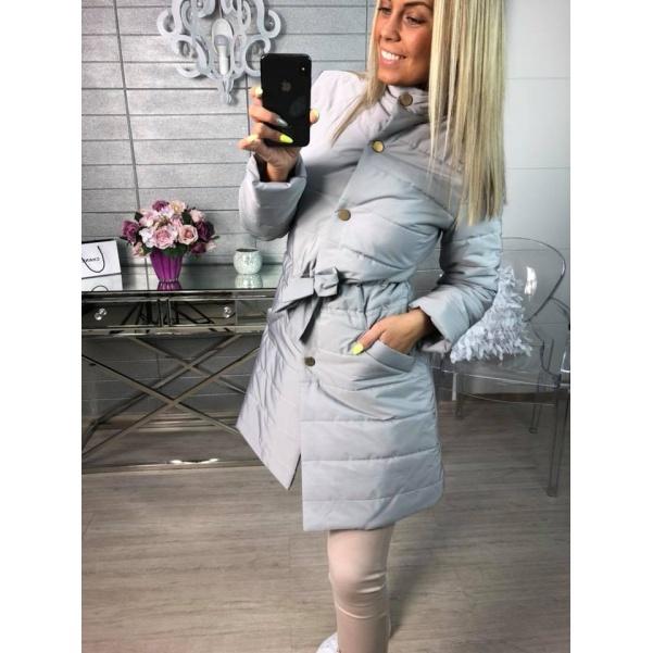 Kabátek s vázáním šedý