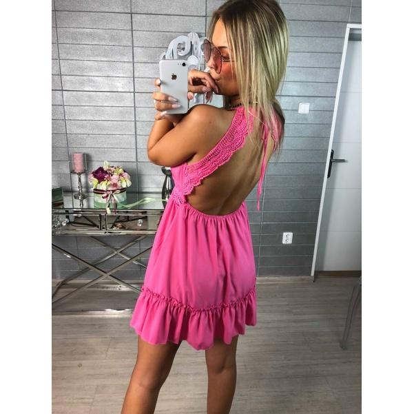 Krásné růžové  šatičky s krajkou - TOP