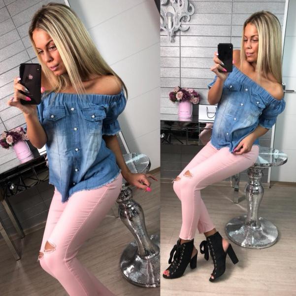 TOP jeans halenka světlá