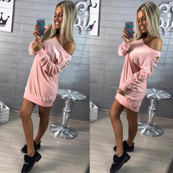 Saténové šaty s perličkami pink