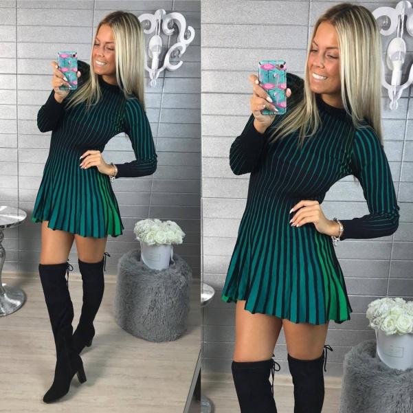 Pletené šatičky DUHA - zelené