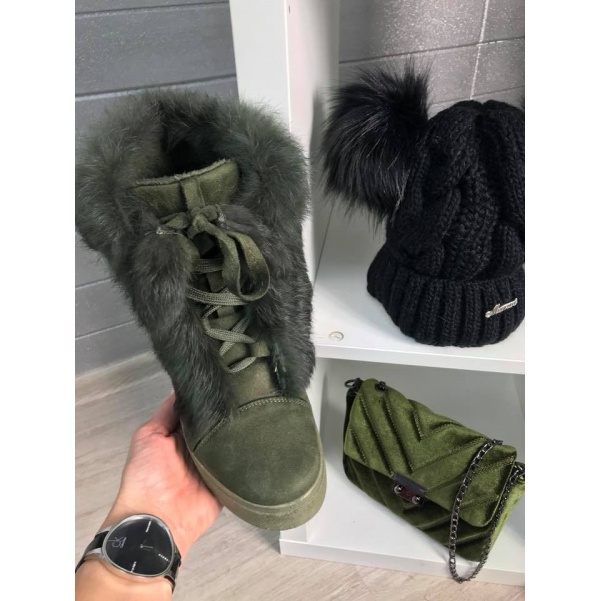 Vyteplené botičky s kožíškem Khaki
