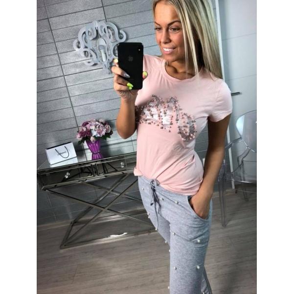 Tričko pearls s nápisem růžové