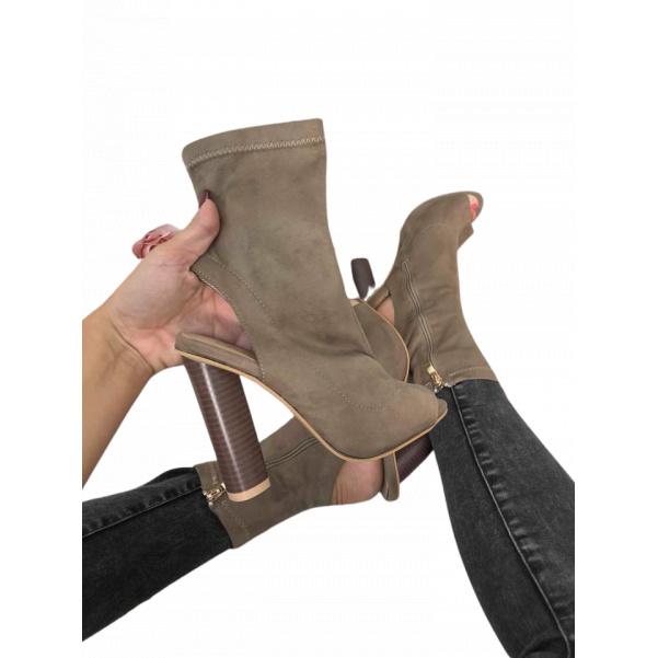 Extra botičky na podpatku- camel