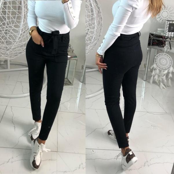 Elastické kalhoty s vyšším pasem černé