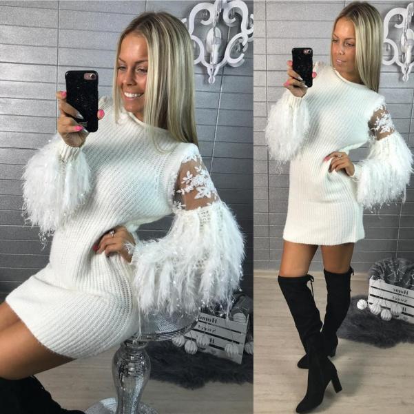 Luxusní svetříkové šaty- PARIS - bílá