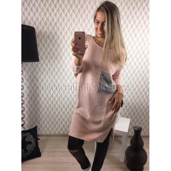 Pink oversize svetr