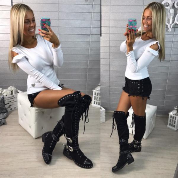 Triko s volánky na rukávech -white