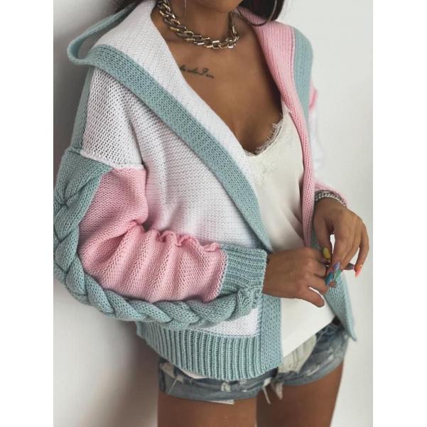 Luxusní copánkový svetr - Grey mint