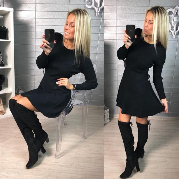 Svetříkové šaty s bočním vázaním - černá