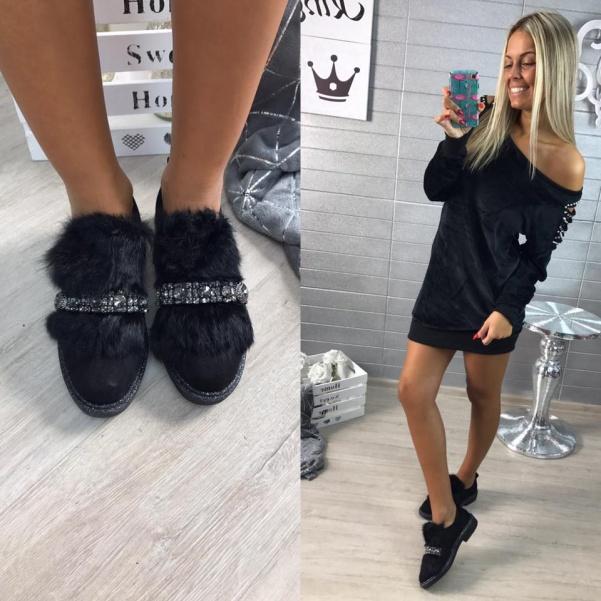 Stylové chlupaté botky černé