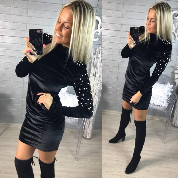 Luxusní velurové šatičky - BLACK