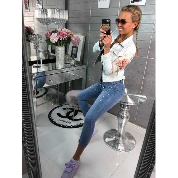Nádherná jeans bundička s květinkami- TOP