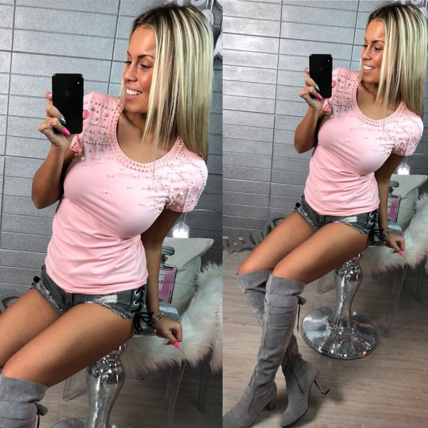 Pink tričko s perličkami