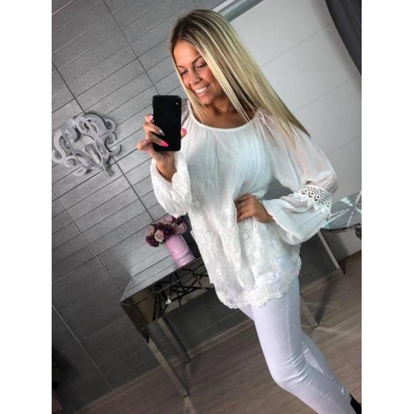 Luxusní krajková halenka White