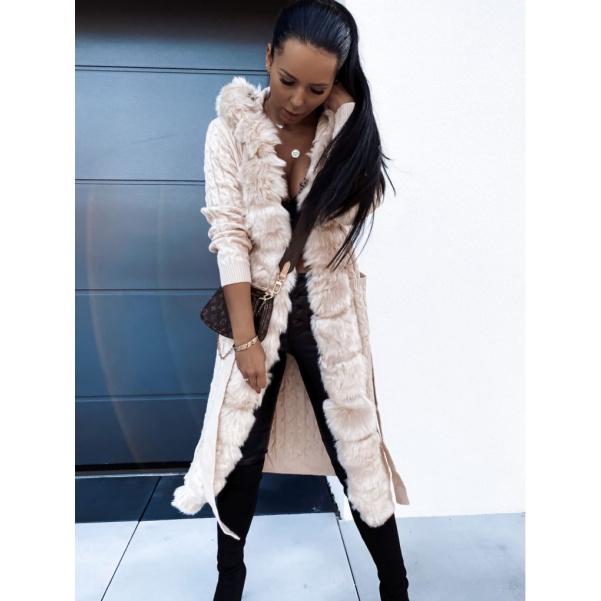 Svetrový kabátek s páskem a mega bohatou kožešinou- Beige
