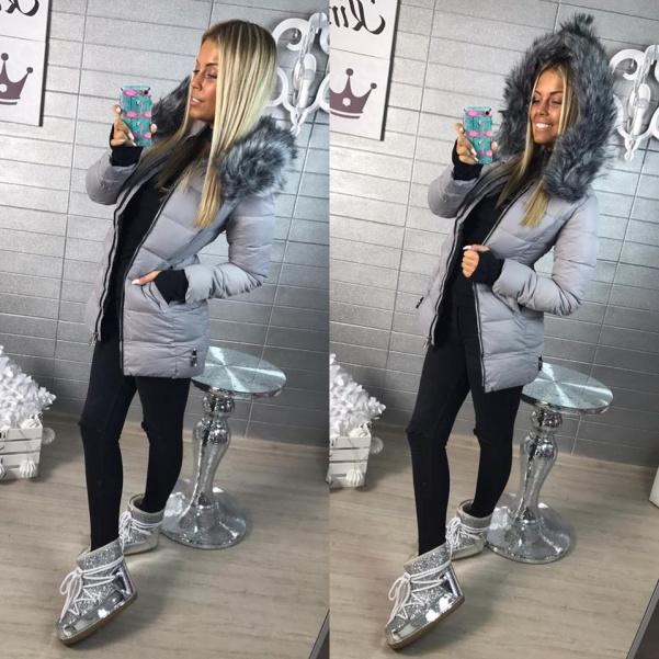 Sivá zimní bundička s kožešinkou