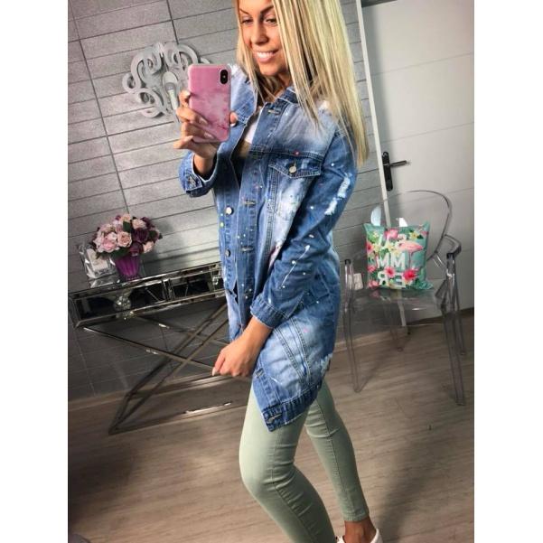 Luxusní prskaná jeans bundikča