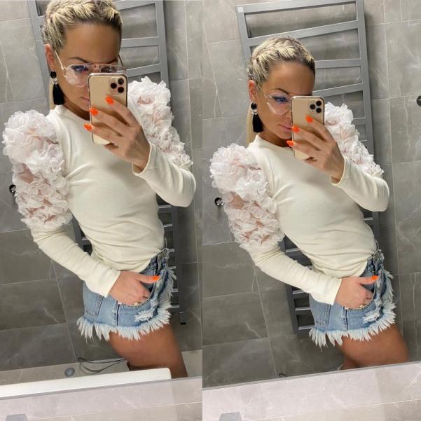 Luxusní trička s květinkovými rukávy- Lolli white