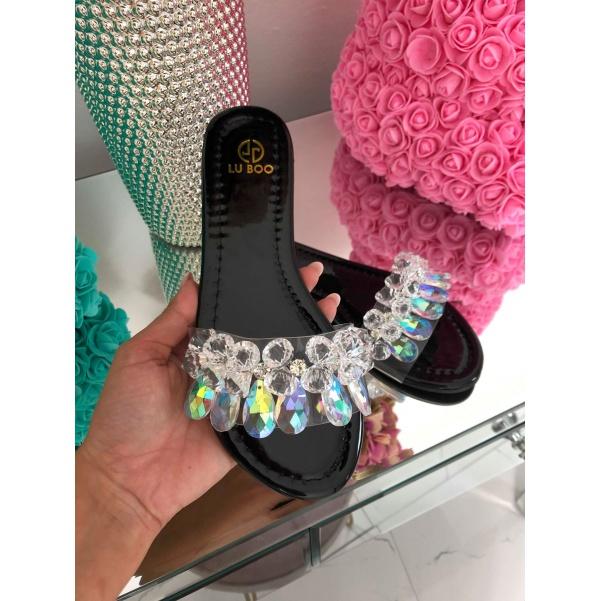 Krásné black boty s kamínky