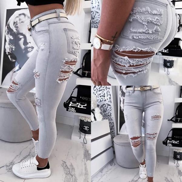 TOP šedé trhané džíny