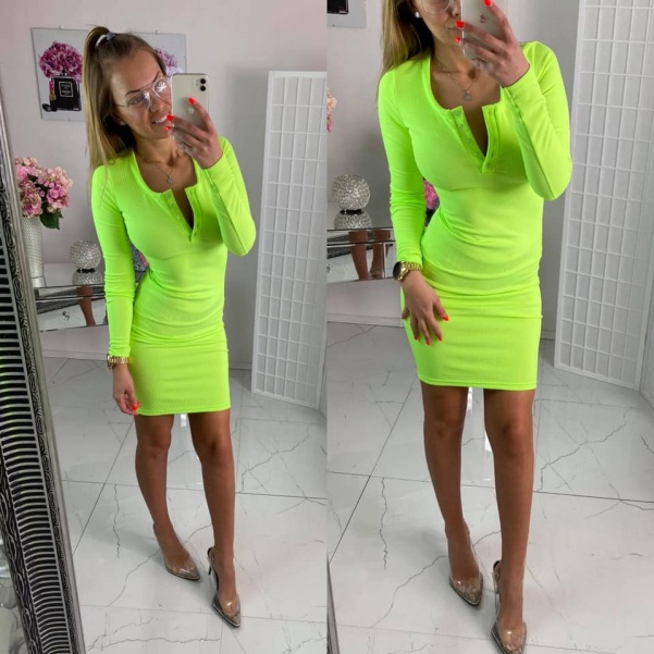 Elastické vypasované šaty - neón žlutá