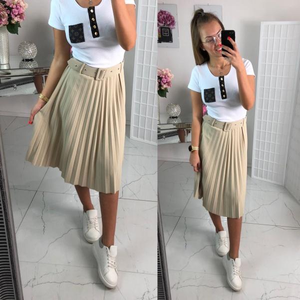 Plisovaná sukně s páskem béžová