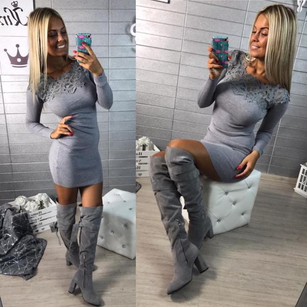 Šaty s krajkou - GREY