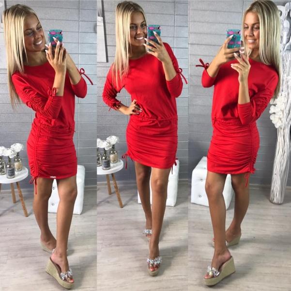 Bavlněné elastické pohodové šatičky- RED