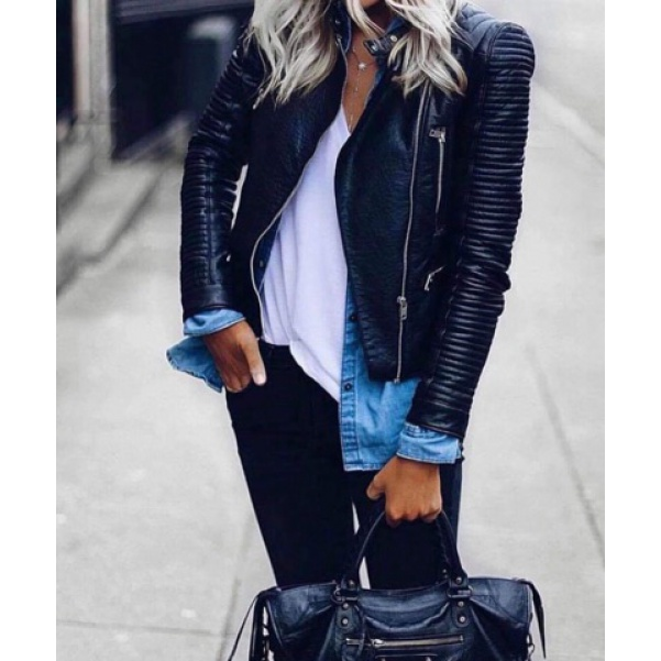 TOP koženková bunda black