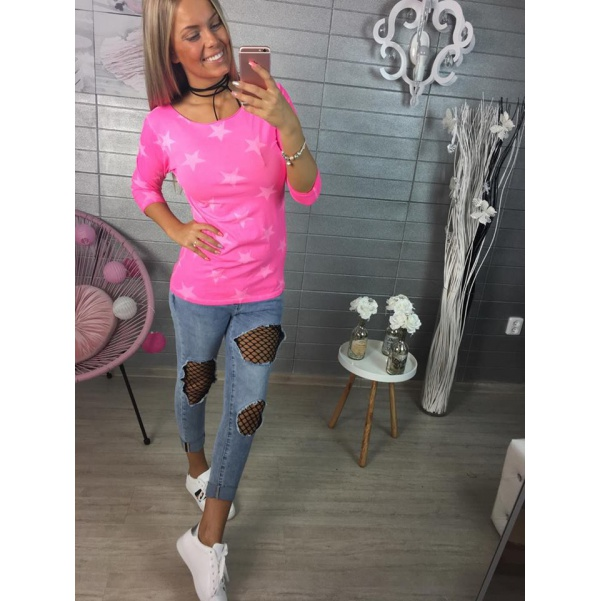 Růžové tričko s hvězdami