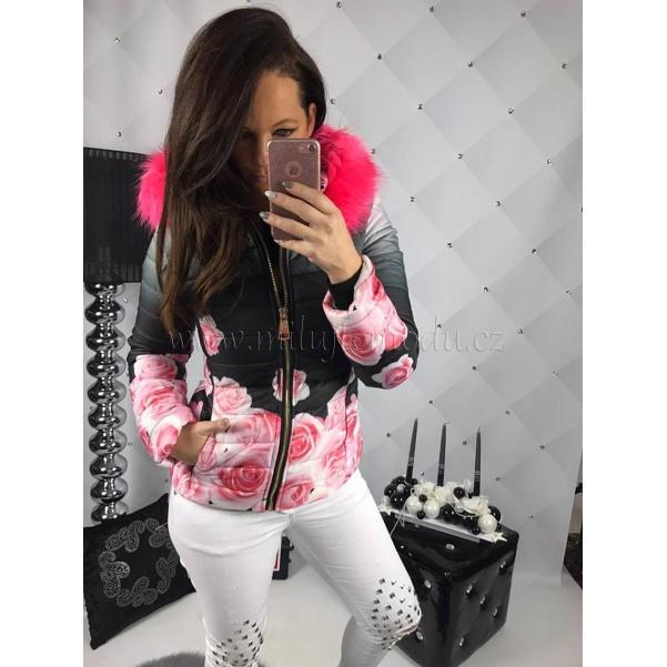 Květovaná bundička s pink kožíškem