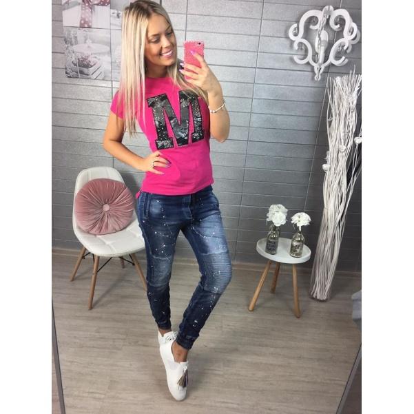 Růžové triko s 'M'