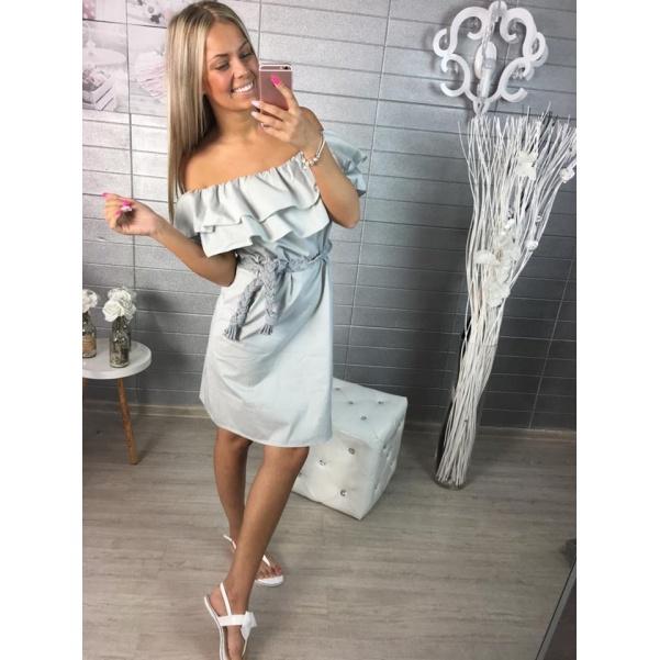 Sivé šaty s volánkem