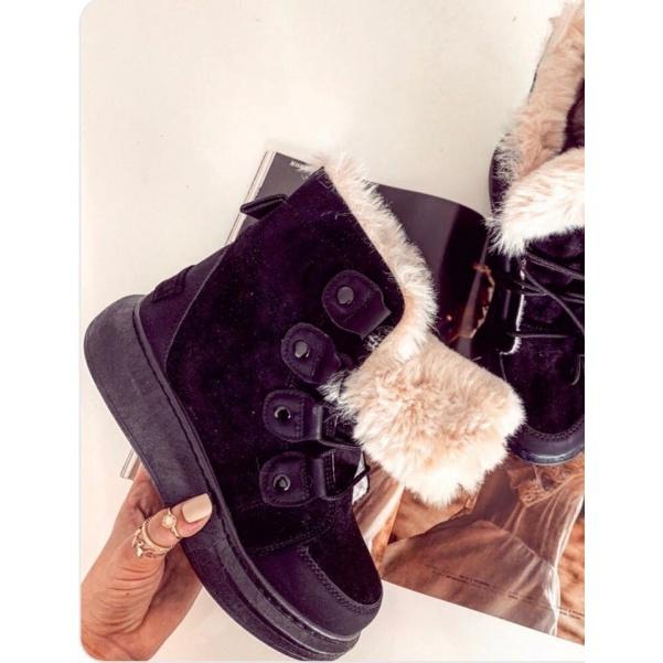 Kožíškové botičky - black
