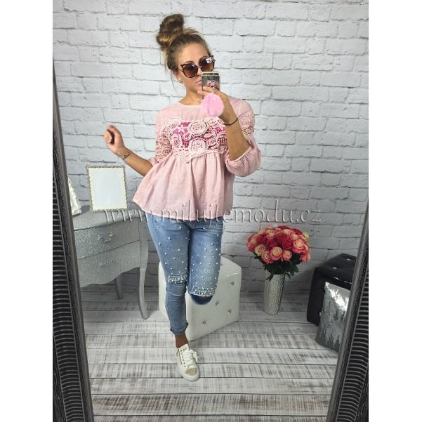 Růžová tunika s krajkou