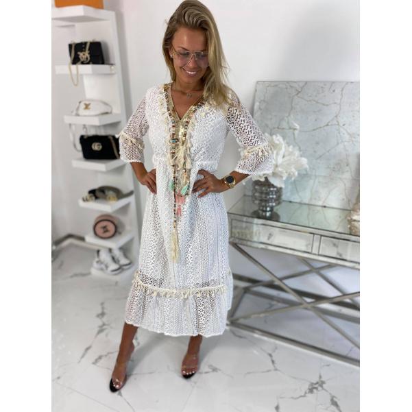 Luxusní krajkové BOHO šaty bílé