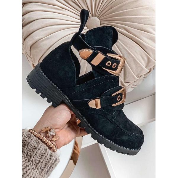 TOP boty se sponami černé