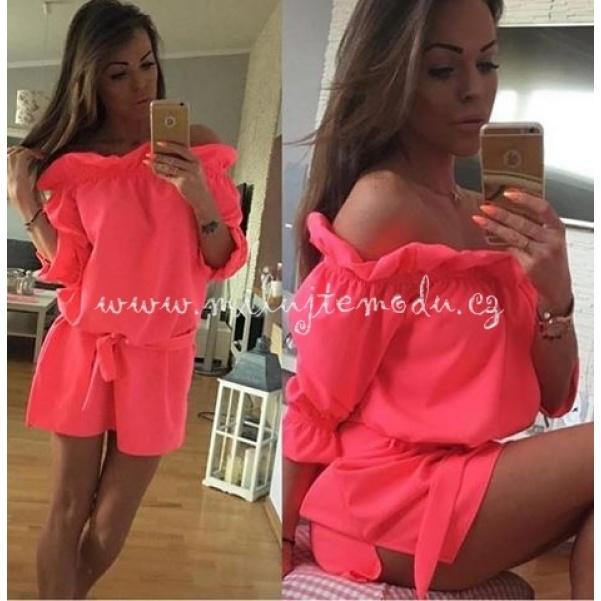 Luxusní neon meruňkové šaty