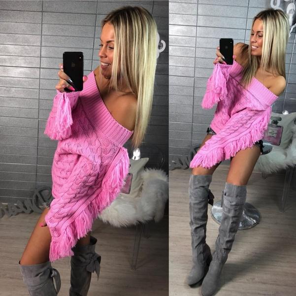 Top svetřík se střapci růžový