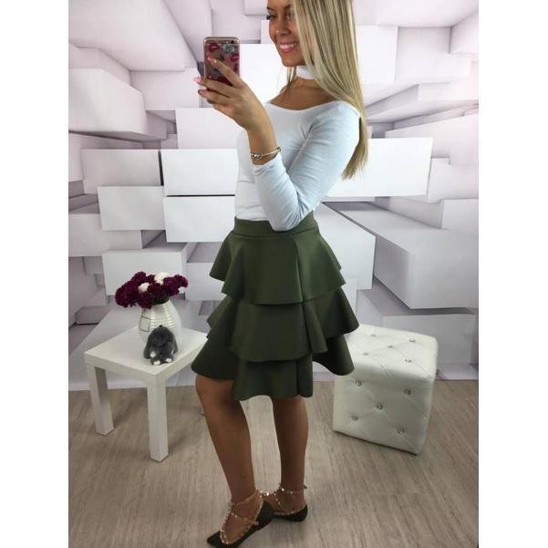 Khaki volánková suknička