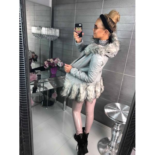 Luxusní kabátek s kožešinkami šedý