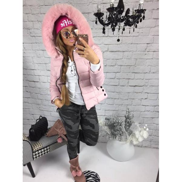 Pink krátka bundička s bohatým kožichem