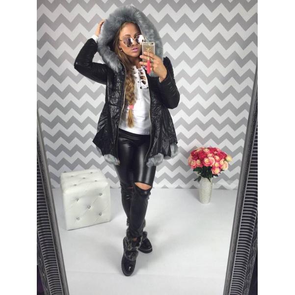 Luxusní kožený kabátek s kožešinkama