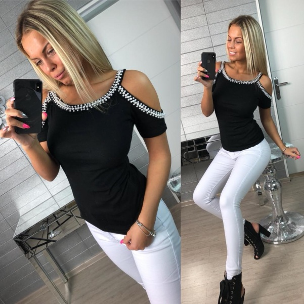 Top tričko s perličkami černé