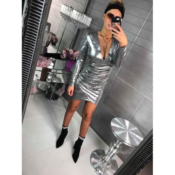 Stříbrné nařasené šatičky - Milly